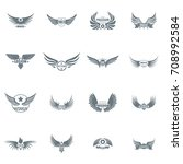 wing logo icons set. simple... | Shutterstock .eps vector #708992584