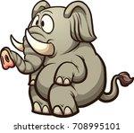 fat cartoon elephant sitting.... | Shutterstock .eps vector #708995101