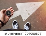 hipster traveler holding... | Shutterstock . vector #709000879
