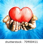 Hands Holding Heart.blue Sky I...