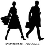Silhouette of the man and the woman