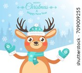 happy new year and merry... | Shutterstock .eps vector #709009255