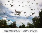 dozens of drones swarm in the... | Shutterstock . vector #709014991