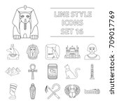 ancient egypt set icons in... | Shutterstock .eps vector #709017769