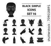 skin care set icons in black... | Shutterstock .eps vector #709018891