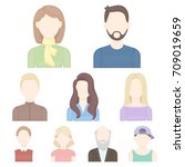 avatar set icons in cartoon... | Shutterstock .eps vector #709019659