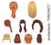 quads  blond braids and other... | Shutterstock .eps vector #709019677