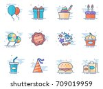 birthday icons in flat color...