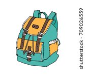 hand drawn doodle backpack... | Shutterstock .eps vector #709026559