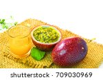 mango with passion fruit... | Shutterstock . vector #709030969