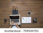 top view of women working...   Shutterstock . vector #709034701