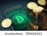 bitcoin cash symbol on screen... | Shutterstock . vector #709036531