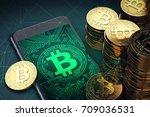 bitcoin cash symbol on screen... | Shutterstock . vector #709036531