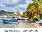 philipsburg marina in sint... | Shutterstock . vector #709039045
