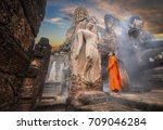 buddhas and clergy  on... | Shutterstock . vector #709046284