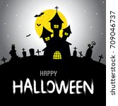 halloween vector card or... | Shutterstock .eps vector #709046737