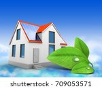 3d illustration of modern house ... | Shutterstock . vector #709053571