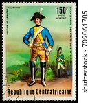 "Small photo of Moscow, Russia - September 05, 2017: A stamp printed in Central African Empire, shows Officer of German Dragoons, series ""The 200th Anniversary of American Revolution"", circa 1976"