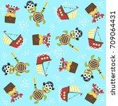 vector cartoon seamless pattern ... | Shutterstock .eps vector #709064431