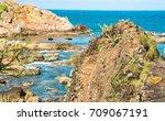 beautiful sea landscape in quy... | Shutterstock . vector #709067191