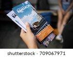 closeup of hand holding bangkok ... | Shutterstock . vector #709067971