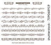 vector set of pattern brushes... | Shutterstock .eps vector #709068919