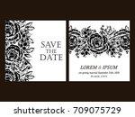 vintage delicate invitation... | Shutterstock . vector #709075729