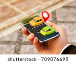 smartphone application for... | Shutterstock . vector #709076695