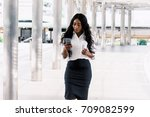 african american woman with... | Shutterstock . vector #709082599