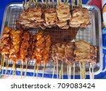 pork and toast. the cheap menu... | Shutterstock . vector #709083424