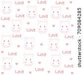 cute baby hippo pattern. vector ... | Shutterstock .eps vector #709084285