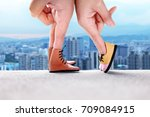 couple hand finger walk to kiss ... | Shutterstock . vector #709084915