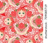 babushka  matryoshka  seamless... | Shutterstock .eps vector #709085719
