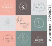 vector hand drawn set elements... | Shutterstock .eps vector #709086784