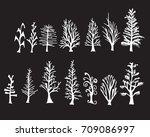 set of tree doodles vector line ... | Shutterstock .eps vector #709086997