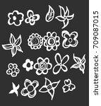 set of flower doodles vector... | Shutterstock .eps vector #709087015