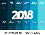 2018 calendar template.stylish... | Shutterstock .eps vector #709091209