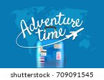 adventure time. world map with... | Shutterstock .eps vector #709091545