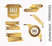 luxury golden badge and labels... | Shutterstock .eps vector #709093321