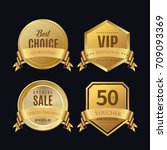 luxury golden badge and labels... | Shutterstock .eps vector #709093369