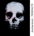 horror skull isolated on black... | Shutterstock . vector #709094179