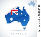 stylized map of australia.... | Shutterstock .eps vector #70909948