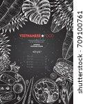 vietnamese food top view ... | Shutterstock .eps vector #709100761