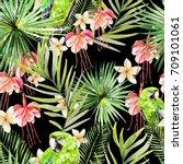 beautiful watercolor seamless... | Shutterstock . vector #709101061