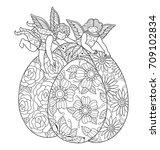 little angel and easter eggs....   Shutterstock .eps vector #709102834