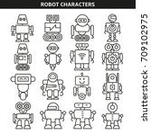 robot character icons line style | Shutterstock .eps vector #709102975