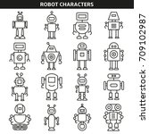 robot character icons line style | Shutterstock .eps vector #709102987