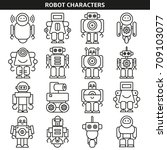 robot character icons line style | Shutterstock .eps vector #709103077