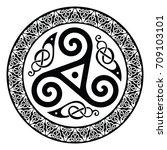 round celtic design  isolated... | Shutterstock .eps vector #709103101