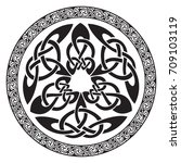 round celtic design  isolated... | Shutterstock .eps vector #709103119